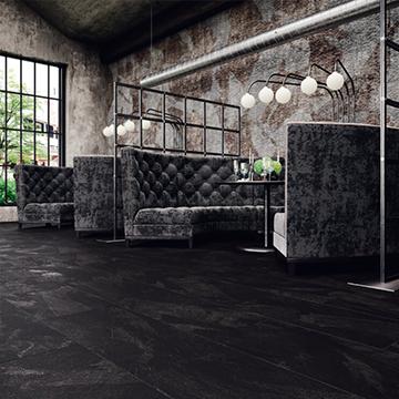 Cafe met Moduleo Mustang Slate PVC vloer